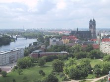 View of Magdeburg with the , from the tower of the Johanniskirche