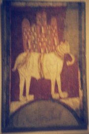 Mural painting of a  from the church of , , , Spain. 11th century.