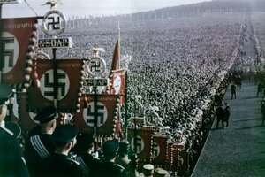 rally (Reichsparteitag) in , 1936. These rallies were held every year in the same place. They were meant to demonstrate the unity of the  state.