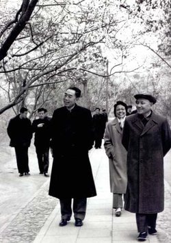 Deng Xiaoping (right) with his mentor and comrade Zhou Enlai (left)