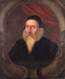 A sixteenth century portrait of John Dee, artist unknown. According to Charlotte Fell Smith, this portrait was painted when Dee was 67. It belonged to his grandson Rowland Dee and later to , who left it to Oxford University.