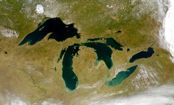 The Great Lakes from space; Lake Superior is on the upper left