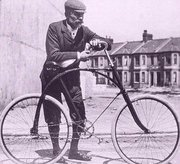 Bicycle in Victorian Plymouth, with a predecessor of the Starley diamond-frame