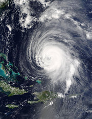 Hurricane Isabel east of the Bahamas on 2003-09-15. Photograph courtesy NASA.