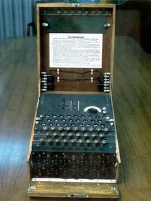 Figure 1. A three-rotor German military Enigma machine showing, from bottom to top, the plugboard, the keyboard, the lamps and the finger-wheels of the rotors emerging from the inner lid (version with labels).