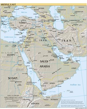 "A map showing Southwest Asia - The term ""Middle East"" is more often used to refer to both Southwest Asia and some North African countries"