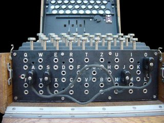 The plugboard (Steckerbrett) is positioned at the front of the machine, below the keys. When in use, there can be up to 13 connections. In the above photograph, two pairs of letters are swapped (S-O and J-A).