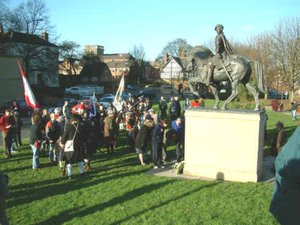 Bonnie Prince Charlie's arrival in Derby re-enacted in front of his statue on Cathedral Green, on the anniversary of his visit in December 1745