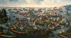 The  (1571), marking the end of the  as the dominant naval power in the