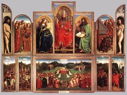 """The Ghent Altarpiece: The Adoration  of the Lamb"" (interior view) painted 1432."