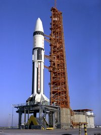 Apollo 5's Saturn IB on the launchpad
