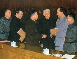 China's first generation Communist leaders: (from left to right) Zhu De, Zhou Enlai, Chen Yun, Liu Shaoqi, Mao Zedong, Deng Xiaoping