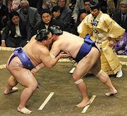 A sumo match at Ryogoku Kokugikan.