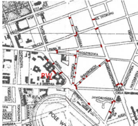 Position of barricades on a pre-war map of Warsaw