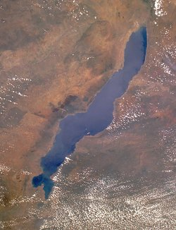 Lake Malawi seen from the Space Shuttle.  Likoma and Chizumulu islands are visible near the centre of the image