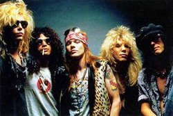 The original line-up of Guns N' Roses. From left to right; , , ,  and