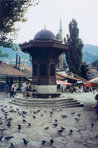 The famous Sarajevo fountain in the old town.