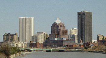 A portion of Rochester's skyline, looking north along the Genesee River from the Ford Street Bridge