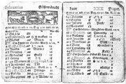 Swedish calendar showing St Valentine's Day  1712
