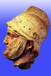 Bust of Parthian soldier, in Hellenistic style ( Museum, ).