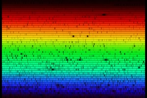 High resolution spectrum of the Sun showing thousands of elemental absorption lines ().