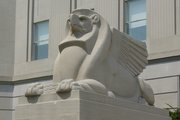 A modernist, Egyptianized guardian griffin,