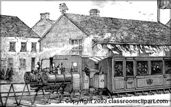 An illustration of a historical train. Pictures provided by by Classroom Clip Art (http://classroomclipart.com)