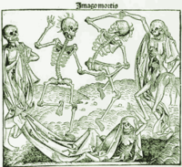 Around the middle of the 14th century, the  ravaged in Germany and Europe. From the Dance of Death by  ()