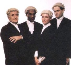 Barristers: traditional dress.