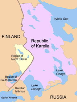The Regions of North and South Karelia lie in Finland and the Karelian Republic in Russia. The Karelian Isthmus is part of the Leningrad Oblast.