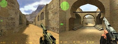 Picture of a Terrorist using a Desert Eagle on the map de_dust in the original (left) and Source (right) versions