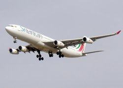 An Airbus A340 of SriLankan Airlines. This is a wide-bodied long-haul aircraft.