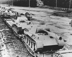 German  tanks de-train in the Eifel area in preparation for the upcoming Ardennes Offensive