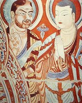 Blue-eyed Central Asian Buddhist monk, with an East-Asian colleague, , 9th-10th century.