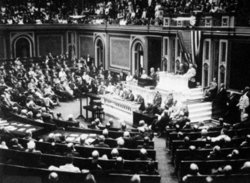President Wilson before Congress, announcing the break in the official relations with Germany. February 3, 1917.