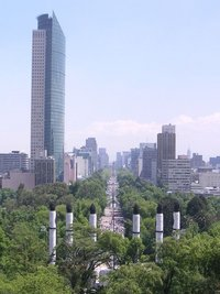 A view along Paseo de la Reforma, a 12-km-long avenue in Mexico City showing the , the tallest skyscraper in Latin America at 225m