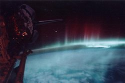 Photograph of the aurora australis, taken from the space shuttle in orbit in May 1991, at a geomagnetic maximum.