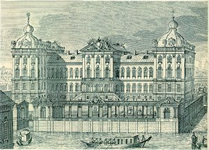 Razumovsky's residences included the Anichkov Palace (above) at the  embankment and the Znamenka estate (http://enlight.ru/camera/113/index_e.html) near