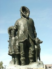 First monument to the first settlers in Fairbanks, Alaska