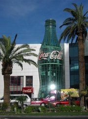 The  World of Coca-Cola museum displays  from several  and offers visitors samples of soda from around the world.