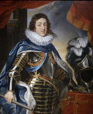Louis XIII in full military regalia, by , 1622-25: On a ribbon at his hip is the Cross of the