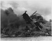 USS Arizona burning after the Japanese .