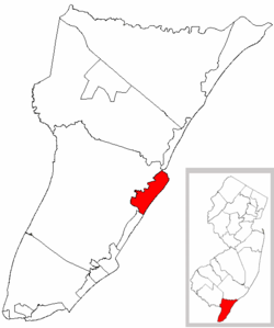 Avalon Borough highlighted in Cape May County. Inset map: Cape May County highlighted in the State of New Jersey.