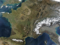 Satellite image of western Europe, including metropolitan France