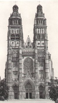 Tours Cathedral: 15th century Flamboyante Gothic west front with Renaissance pinnacles, 1547