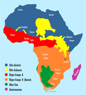 Map showing the distribution of African language families and some major African languages.  extends into the  and .  is divided to show the size of the .