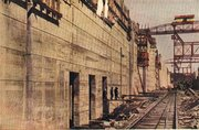 Pedro Miguel Locks under construction, early 1910's, showing center wall and intakes, looking north.