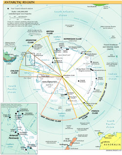 Research stations and territorial claims in Antarctica.