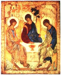A piece of Russian Icon art known as Rublev's Trinity