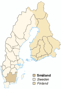 The divisions of the provinces, this particular map highlighting Småland.